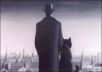 El diablo y el gato Behemot contemplan la Moscú de El maestro y Margarita