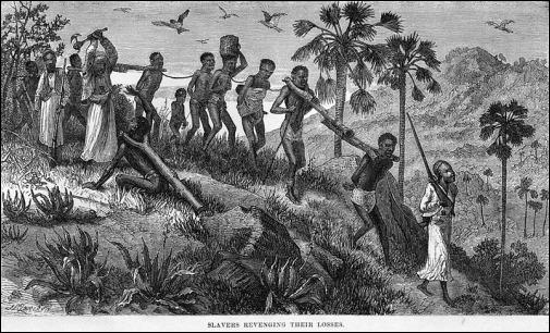 Grabado decimonónico sobre las actividades del esclavismo en Africa