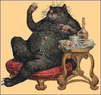 No he podido encontrar el nombre del autor de esta magnífica ilustración del gato Behemot para El maestro y Margarita
