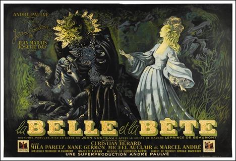 Bonito cartel de La bella y la bestia, versión Cocteau