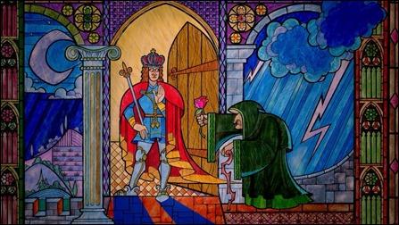 El estupendo prólogo de La bella y la bestia, versión 1991, narrado como a través de una vidriera