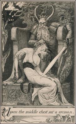 Ilustración de Frank C. Pape para Jurgen, episodio del encuentro con Ginebra