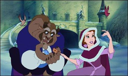 La bella y la bestia de Disney, en dibujos animados