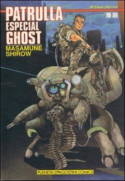 La primera edición del manga de Shirow Masamune, con el título de Patrulla Especial Ghost