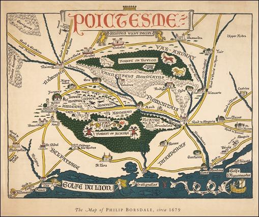 Poictesme: the Map of Philip Borsdale, 1674, 1920s