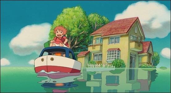 Ponyo y Sosuke en su barco de vela