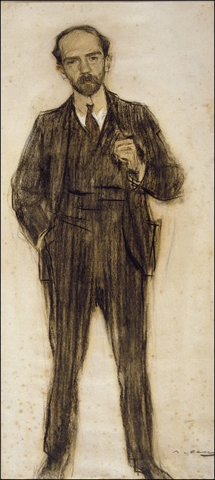 Pío Baroja, dibujo al carboncillo por Ramon Casas