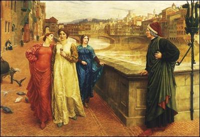 Dante y Beatriz, por el prerrafaelita Henry Holiday