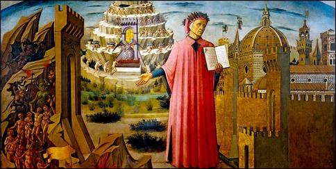 Fragmento del cuadro de Domenico di Michelozzo La Divina Comedia ilumina Florencia, en el Duomo