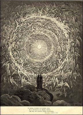 La contemplación de la gloria, grabado de Doré para la Divina Comedia