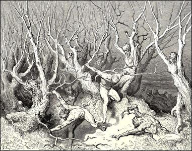 Los suicidas convertidos en árboles, según Doré para la Divina Comedia