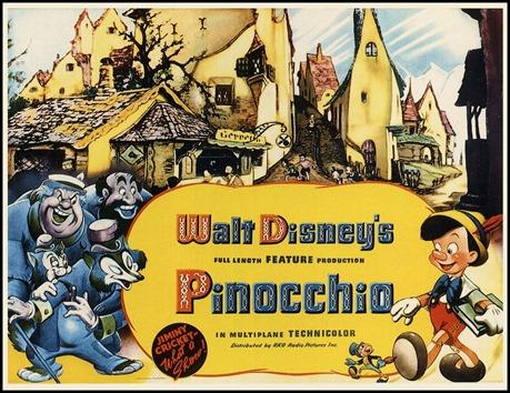 Excelente cartel del Pinocho de Walt Disney, con muchos de sus personajes secundarios