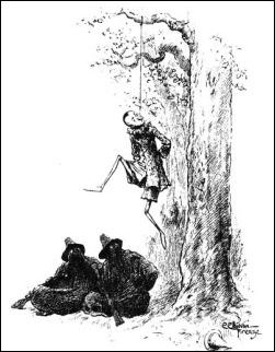 Ilustración de Attilio Mussino, con Pinocho ahorcado