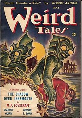Cubierta original de Weird Tales, con La sombra sobre Innsmouth