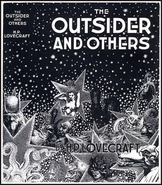El primer libro de Arkham House, The Outsider and Others. Portada de Virgil Finlay
