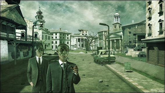 Estupenda ilustracion de MCrassus para La sombra sobre Innsmouth, de Lovecraft