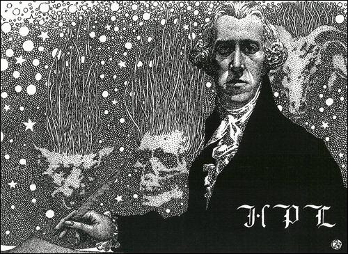 H. P. Lovecraft vestido de caballero dieciochesco, por Virgil Finlay