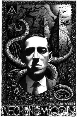 Ilustración de Dean Kuhta sobre H. P. Lovecraft