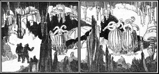Ilustración de Howard V. Brown para En las montañas de la locura