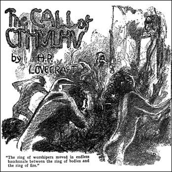 Ilustración de Hugh Rankin en Weird Tales para abrir el relato La llamada de Cthulhu