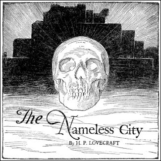 Ilustración de Jack Binder en Weird Tales para La ciudad sin nombre, de Lovecraft