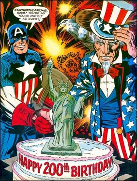 El Capitan America felicita al Tio Sam por el bicentenario de los USA
