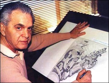 El gran Jack Kirby ante el tablero de dibujo