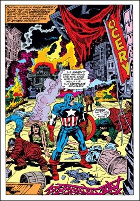 Genial viñeta de Captain America 193, con Nueva York devastada por la Bomba Loca