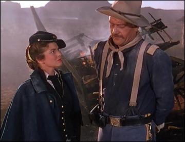John Wayne y Joanne Dru en La legion invencible