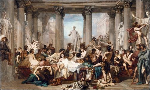 Los romanos de la decadencia, pintura de Coutoure que bien pudo haber sido realizada tras leer Quo Vadis
