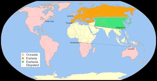 Mapa que especula con la division del mundo entre los tres paises inventados por Orwell para 1984 (fuente, wikipedia)