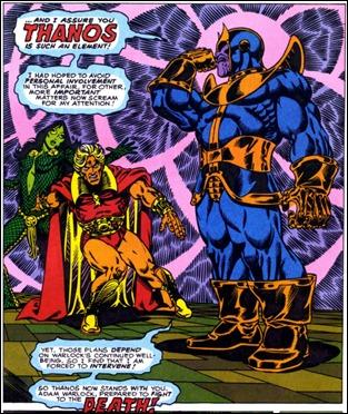 Gamora, Adam Warlock y Thanos