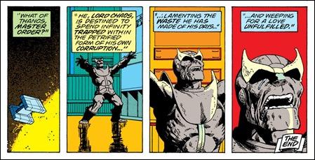 Thanos convertido en estatua de piedra