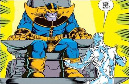 Thanos resucita ante Estela Plateada, dibujados por Ron Lim