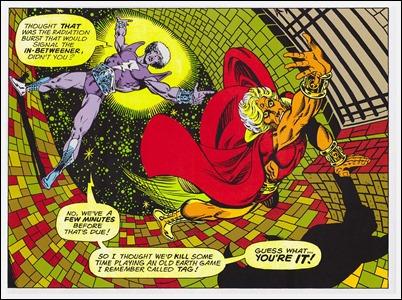 Una de las magnificas y delirantes viñetas de Warlock, por Starlin