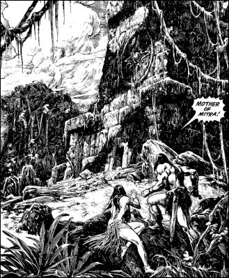 Ilustracion de John Buscema y Alfredo Alcala para Sombras de hierro a la luz de la luna, en La espada salvaje de Conan