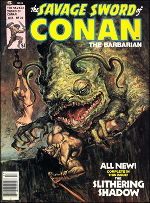 Portada de Earl Norem de La sombra deslizante, para La espada salvaje de Conan