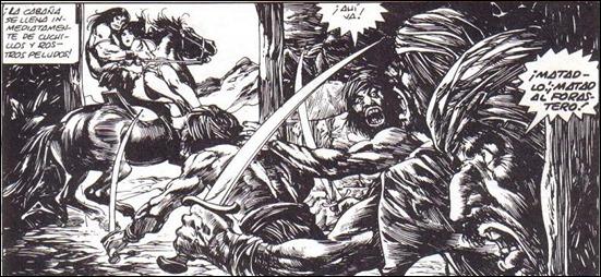 Viñeta de Buscema y Alcala para El pueblo del circulo negro, en La espada salvaje de Conan