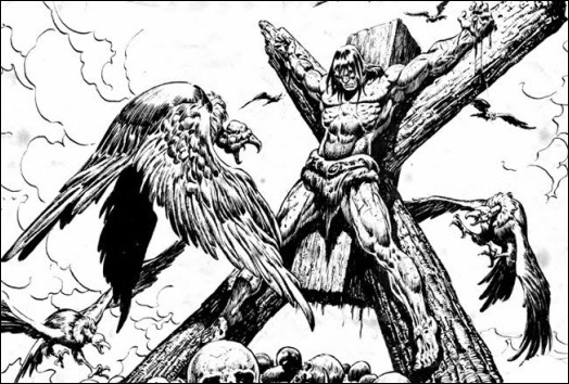 Conan crucificado en Nacera una bruja, por Ernie Chan