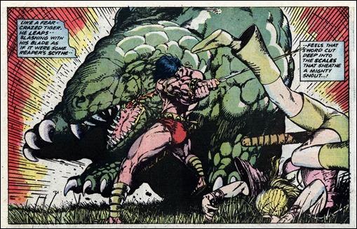 Majestuoso dibujo de Barry Windsor-Smith para el momento en que Conan se enfrenta al dinosaurio, en Clavos rojos