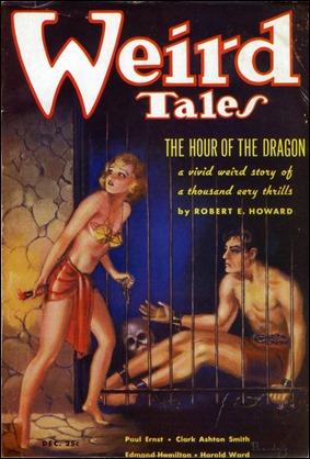 Portada de Weird Tales con La hora del dragon, y un Conan de M. Brundage que poco se parece a Conan