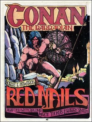 Portadilla del mitico Clavos Rojos, el mejor tebeo de Conan