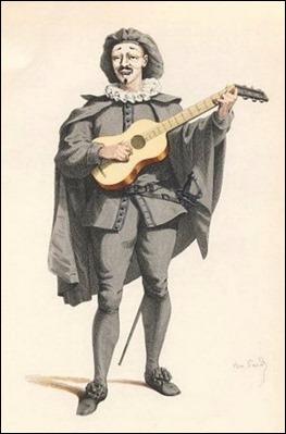 Scaramouche, dibujo de 1860 por Maurice Sand