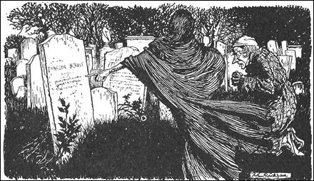 Scrooge ante su propia tumba