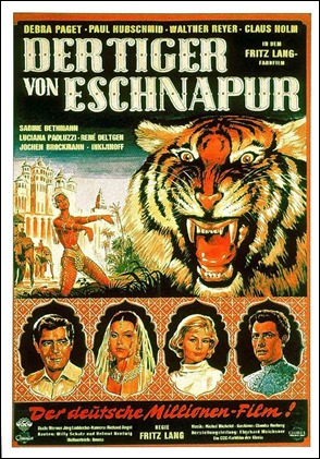 Cartel alemán de El tigre de Esnapur