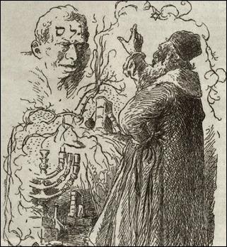 El rabino Low da vida al Golem. Ilustración de Mikolas Ales, de 1899