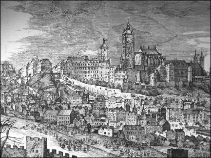 Grabado que muestra la ciudad de Praga en 1606