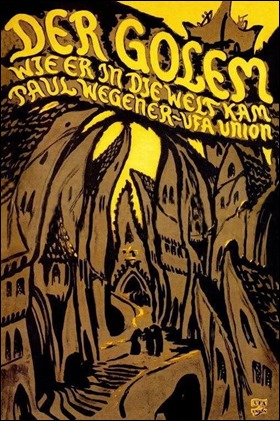 Cartel, ya del todo expresionista, de El Golem, 1920