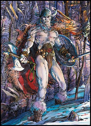 Soberbia ilustración de uno de los guerreros sombríos típicos de Howard, por Barry W. Smith