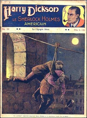 Una de las portadas de la serie en francés de Harry Dickson, que delata bien a las clara su filiación con Sherlock Holmes